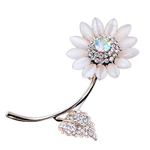 YKSO Broches de girasol de diamantes de imitación de aleación de zinc ópalo piedra flor pétalo Pin de moda broche