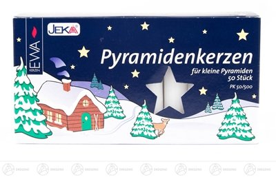 Rudolphs Schatzkiste Zubehör Pyramidenkerzen, weiß (50) Breite x Höhe ca 1,4 cmx8 cm NEU Erzgebirge Kerze Wachskerze