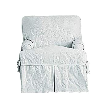 Sure Fit Matelasse Damask One Piece Chair Slipcover - White