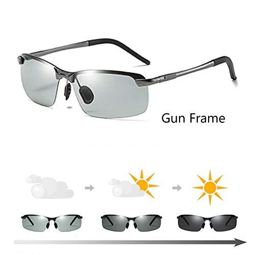 JQM Mens Photochromic Sunglasses Polarized, Polarized Photochromic Outdoor Sports Safety Sunglasses with 100% UVA UVB Protection, Photochromic Sunglasses for Driving (Gun frame)