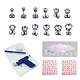 Painless Ear Piercing Gun Tool Kit, 98 Pcs Ears Nose Navel Lip Piercer Machine Studs, Piercing Guns, Markers, Mirrors and 6 Pairs of Cubic Zirconia Stud Earrings by QPEY