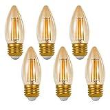 シャンデリア用 LED フィラメント電球 E26 口金 4W アンティーク色 2200K アンバーガラス (6個入り)