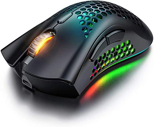 Wireless Gaming Mouse, Computer for Rechargeable Gaming Mouse, 7 Programmable Buttons, 3 Adjustable DPI, USB Receiver, 2.4G Ergonomic RGB Optical Sensor Mouse for Computer, Laptop, PC (Black)
