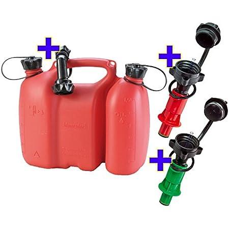 Doppelkanister 5 5 3 Liter Natur Klar Inkl Ausgiesser Und 2x Sicherheitseinfüllsysteme Grün Rot Mit Originalem Bauprofi Maßstab Auto