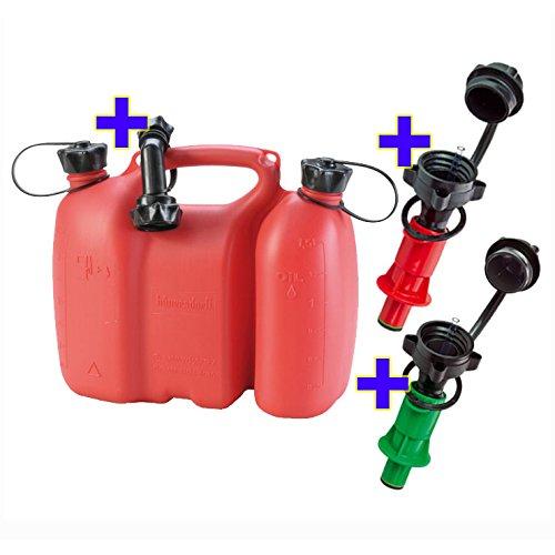 Doppelkanister rot 3+1,5 Liter inkl. 1 Ausgiesser und 2x Sicherheits-Einfüllsysteme (grün + rot)