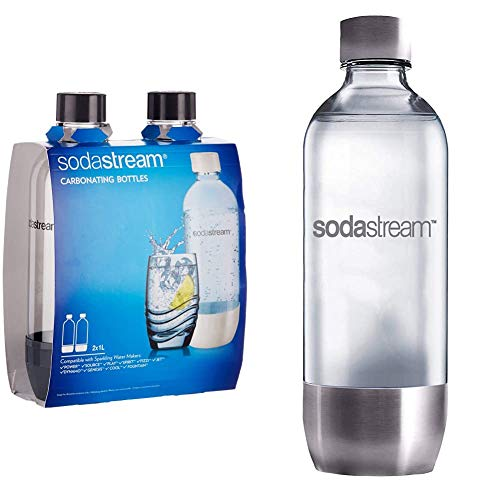 SodaStream 1041243490 Bouteilles - Gris (Transparent) - 2x 1L & Bouteille Base Métal