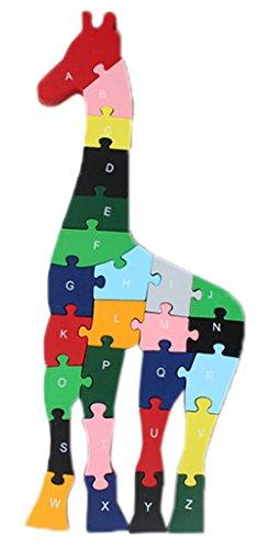 Bigood Jouet Bébé Enfant Puzzle en Bois Alphabet Chiffre Préscolaire Girafe