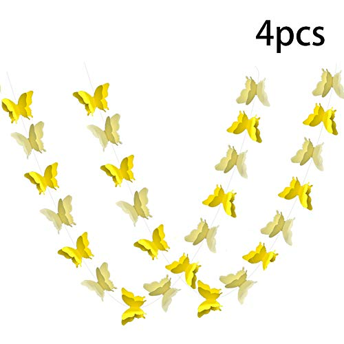 ADLKGG Butterfly Hanging Garland Party Decoration, 4 Pack 3D paper Butterfly Bunting Banner for Wedding Baby Shower Birthday Home Decor, Yellow