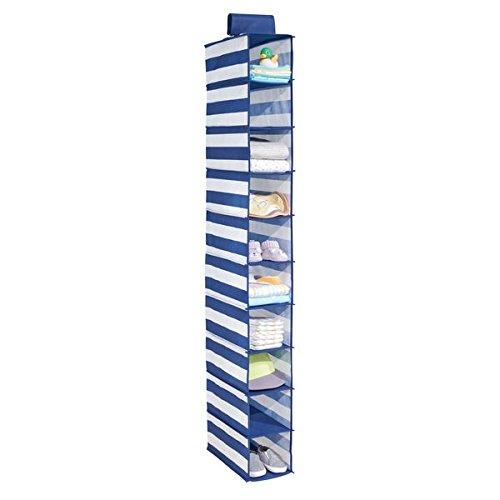 mDesign Organizer armadio con 10 scomparti – Portatutto pensile in stoffa – Organizzatore armadio da appendere – Per vestiti e scarpe – blu/bianco