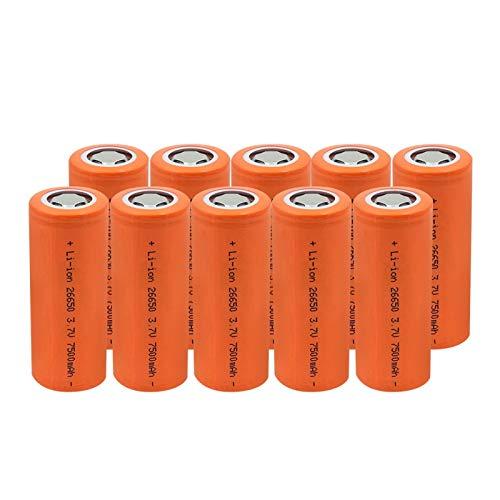 THENAGD Pc 10 Nueva Batería De Litio Recargable De Alto Drenaje 10a 26650 7500mah 3.7v, Potencia De Alta Descarga De Gran Corriente
