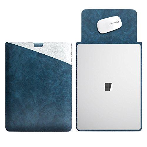 WALNEW Housse de Protection Douce pour Microsoft Surface Book 13,5'' Revêtement Étui avec Intérieur et Extérieur Sécurisé Tapis de Souris 13.5'' Surface Laptop C-Darkblue