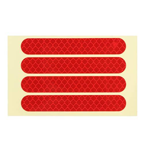 Teror Reflekterande klistermärke, 4 st/set främre bakhjul reflekterande dekal passar för Ninebot G30 elscooter tillbehör (röd)