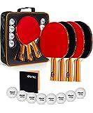 Idoraz Ping Pong Paddles Set of 4 - Table Tennis Set - Ping Pong Paddle Set - Ping Pong Paddles and Balls