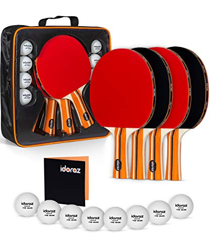 Ping Pong Paddle Set of 4 - Pro Table Tennis Racket - 4 Player Pack - Good Spin - Professional Game Balls - Premium Accessories Racquets Bat Bundle Kit - Portable Cover Case - Indoor Outdoor