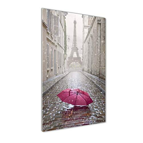 Tulup Impresión en Vidrio - 60x120cm - Cuadro sobre Vidrio - Pinturas en Vidrio - Cuadro en Vidrio - Impresiones sobre Vidrio - Cuadro de Cristal - Monumentos Y Arquitectura - Rojo - Paraguas Francia