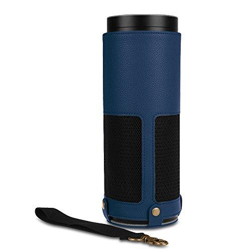Fintie Amazon Echo Hülle - Premium Kunstleder Schutzhülle Case Tasche mit Abnehmbarem Band für Amazon Echo, Marineblau