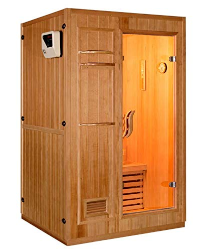 "Canadian Hemlock Wood Traditional Swedish 47"" 1 or 2 Person Indoor Sauna Spa, with 4.5KW Wet or Dry Heater, Digital Control Panel, Rocks, and Water Bucket"