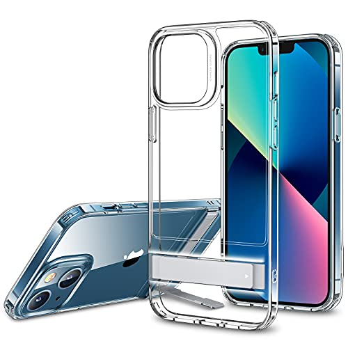 ESR Metal Kickstand Case Compatible with iPhone 13 Case, Patented Two-Way Stand, Reinforced Drop Protection, Slim Flexible Back Cover, Clear