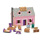 PORTABLE MINI WOODEN DOLLHOUSE: The Melissa & Doug Fold & Go Mini Dollhouse is a portable wooden dollhouse that features working doors and includes 11 pieces of wooden furniture and two flexible wooden play figures. STURDY CARRYING HANDLES: Our Melis...