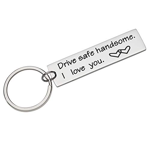 Fleure Esme Drive Safe Keychain Handsome I Love You Engraved Keychain Key Tag Best Stocking Stuffers Birthday Gifts for Men Boyfriend Husband Dad Couples Trucker Gifts Love Keychains for Him Men