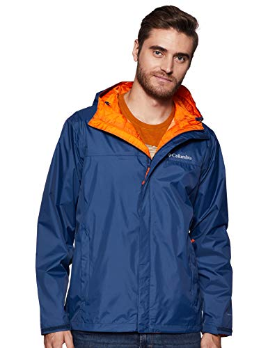 Mens Waterproof Breathable Rain Windbreaker Carbon Blue Jacket