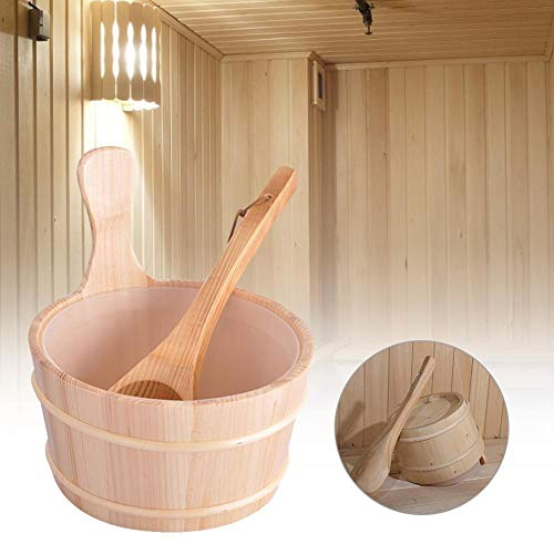 awhao-123 Kit De Sauna en Bois De Pin Naturel Robuste - Seau De Sauna À Eau 4L avec Poignée en Corde pour Hammam, Ensemble De Sauna Classique en Bois Fait À La Main - Accessoire Essentiel