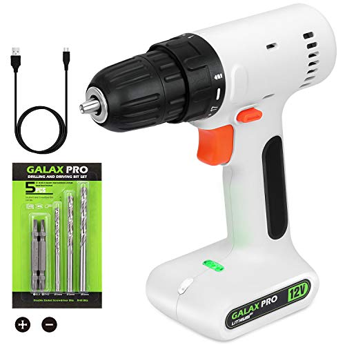 GALAX PRO Trapano, avvitatore a batteria 12 V, mandrino a serraggio rapido da 10 mm, 0-800 giri/min, velocità variabile, con set di accessori da 6 pezzi, cavo di ricarica, leggero e portatile