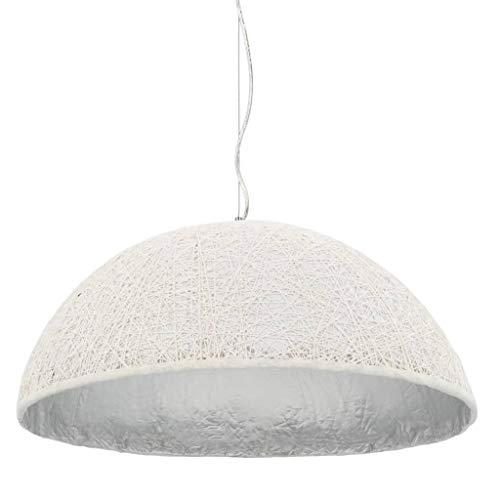 vidaXL Lámpara Techo Salón Dormitorio Semiesférica Diseño Original Papel Trenzado Imitar Ratán Mimbre Luz Colgante Semiesfera Blanca Plata 70 cm E27