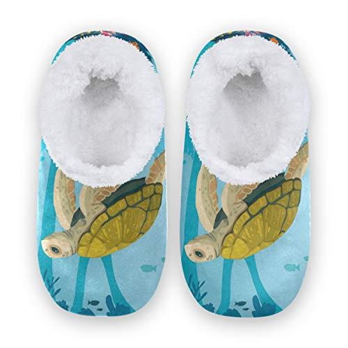 TropicalLife LZXO Herren Damen Plüsch Hausschuhe Geschlossen Ocean Sea Turtle Coral Memory Foam Slippers Winter Wärme Indoor Home Pantoffeln(Größe L)