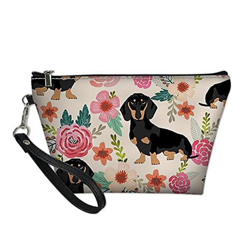 Harmonious Neceser de maquillaje, bolsa de aseo portátil, pequeño cuadrado y organizador de maquillaje (estampado de perros y flores)