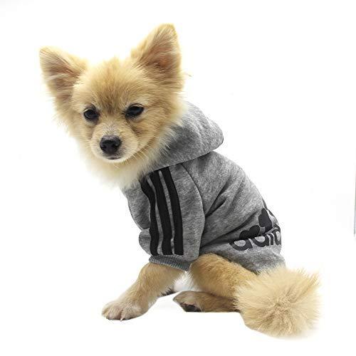 QiCheng & LYS Felpe con Cappuccio per Cani,Pet Puppy Cat Cute Cotton Warm Hoodies Maglione,Cappelli Cani Piccola Taglia (Grigio S)