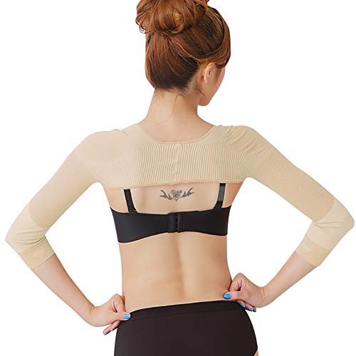 Women's Slimming Arm Shapers Back Shoulder Support Wrap Correct Posture Corrector Humpback Prevent Shaperwear Compression Massaging Arms Lymphedema Support (L(fit US S), Nude)