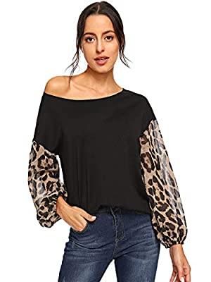 SheIn Women's One Shoulder Long Sleeve Casual Leopard Tops Blouse Black M