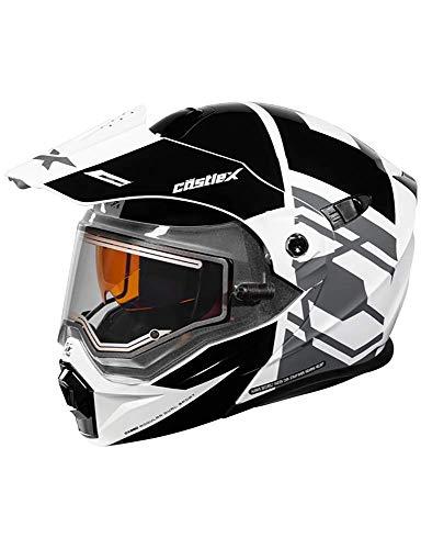 Castle X EXO-CX950 Hex Modular Electric Snowmobile Helmet in Black/White Size XL