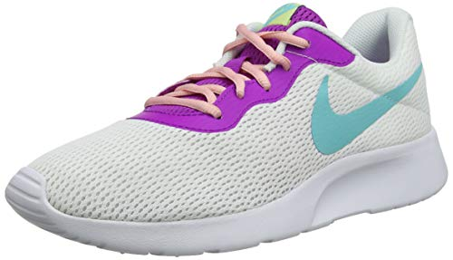 Nike Damen WMNS Tanjun Turnschuhe, Weiß (White/Lt Aqua/Hyper Violet/Bleached Coral/Luminous Green 106), 35 1/2 EU