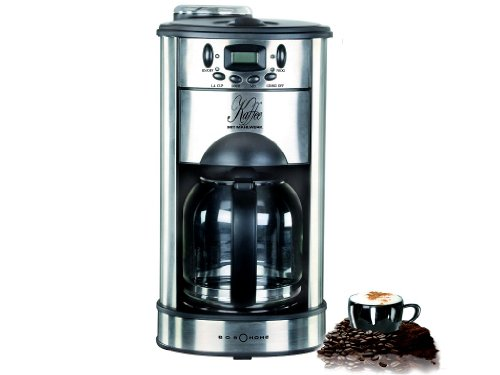 BOB-HOME 2587 Kaffeemaschine mit Mahlwerk Edelstahl 1000 Watt