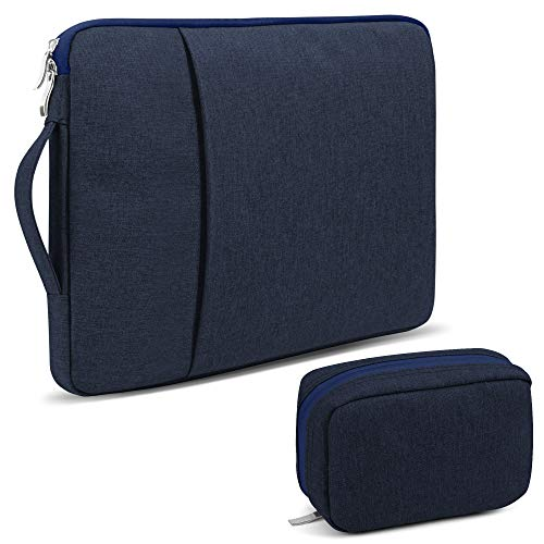 GMYLE 2 in 1 MacBook Air 13 inch Laptop Carrying Sleeve Bag, Old Version Retina Pro 13 inch, Old Pro 13 inch Bundle, with Handle Compatible 13-13.3 Inch Computer Storage Organizer Pouch – Navy Blue