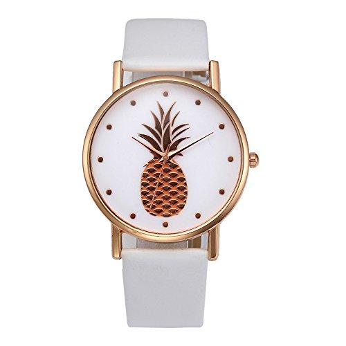XuBa Mode Quartz Horloge Meisje Vrije tijd Ananas Patroon Horloges Dames Jurk Polshorloge Wit Rose gouden schaal