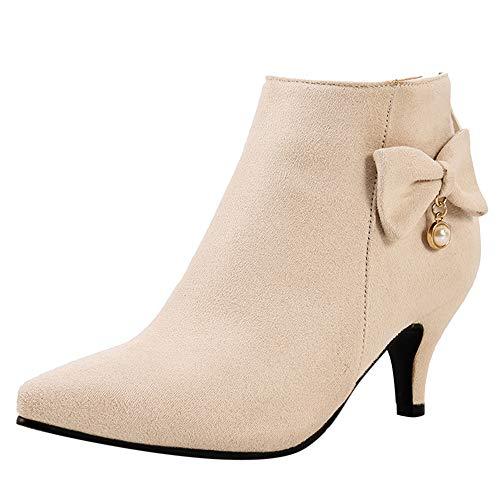 SUCREVEN Damen Mode Damen Kleid Boots Bogen Stiefeletten Kitten Heel Stiefeletten Reißverschluss Pointed Toe Party Bootis Aprikose-Rl Gr 35 EU