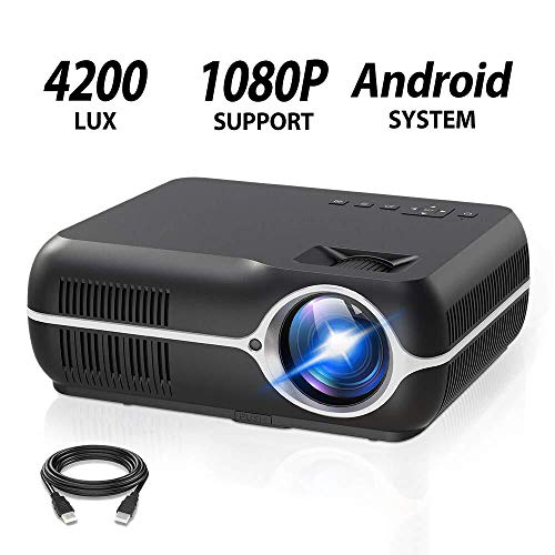 ILIMPID Home Video Projector,Portable Android 6.0 Wireless Home Theater Projector 4200 Lumens WXGA Resolution Support Full HD 1080P Movie Video Games with WiFi HDMI USB VGA AV Audio Out