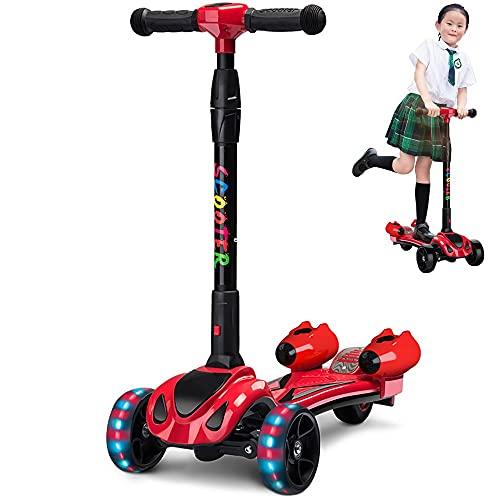 DODOBD Patinetes para Niños con Spray de música, Scooter Plegable Ajustable para Niños y Niñas con 3 Ruedas de LED Extra Anchas Patinetes Plegable Ligero para Niños