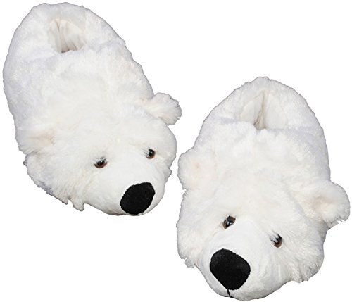 alles-meine.de GmbH Hausschuh - Pantoffel -  Eisbär / Teddybär  - Größe 37 38 39 40 41 42 - Plüschhausschuh - super weich Tier Tiere - für Kinder & Erwachsene - Teddy Bär - Hau..
