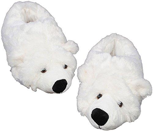 alles-meine.de GmbH Hausschuh - Pantoffel -  Eisbär / Teddybär  - Größe 33 34 35 36 - Plüschhausschuh - super weich Tier Tiere - für Kinder & Erwachsene - Teddy Bär - Hausschuh..