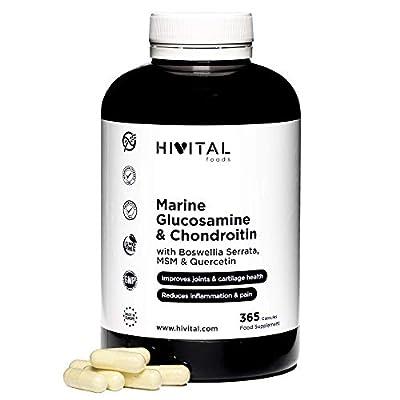 Glucosamin mit Chondroitin | 365 Kapseln | Mit MSM, Boswellia Serrata und Quercetin | Natürlicher Entzündungshemmer, der Gelenkschmerzen und Entzündungen lindert und Knochen und Knorpel stärkt