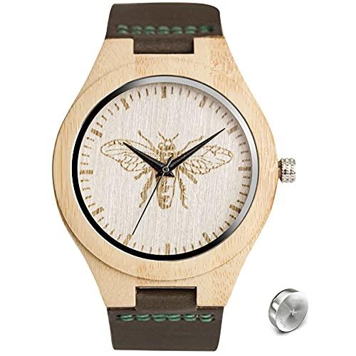 SKYLINE Reloj de Madera Unisex, Reloj Pulsera con Correa de Cuero Genuino, Diseño en Pantalla, Perfecto para Regalo de Cumpleaños, Navidad y Otras Fechas Especiales.