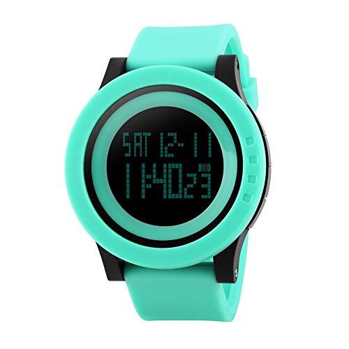 FeiWen Mujer Fashion Multifuncional Digitales Deportivo Relojes de Pulsera Outdoor Militar 50M Impermeable Plástico Bisel con Goma Correa LED Electrónica Reloj, Verde