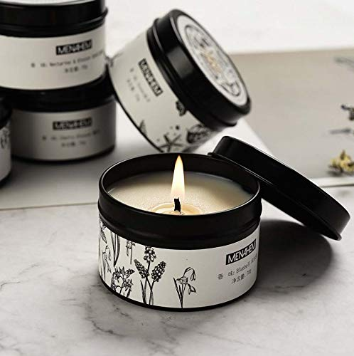 zheng xuan Aromatherapy candles, 100% soy wax, smokeless and deodorizing indoor tin can aromatherapy candles with souvenirs, very suitable for Christmas, Mother's Day, Valentine's Day (Black)