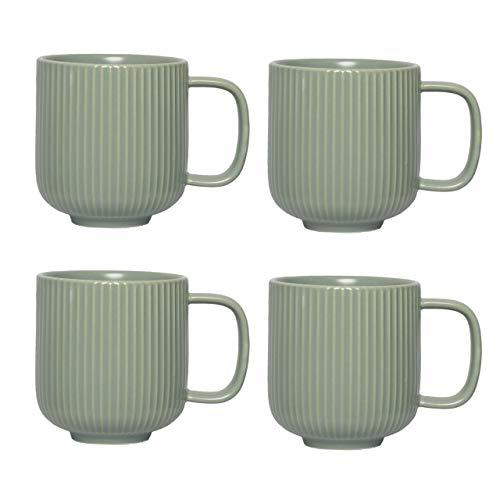 KØZY LIVING Keramik Tasse 4 Stk - 350 ml Tassen-Set mit Henkel in skandinavischem, nordic Design - perfekt für Kaffee oder Tee - Jadegrün