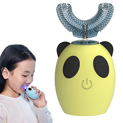 Cepillo de dientes eléctrico ultrasónico, cepillo de dientes automático con cabezal de cepillo de forma U de reemplazo, IPX7 impermeable, cepillo de dientes eléctrico ultrasónico para niños,Amarillo