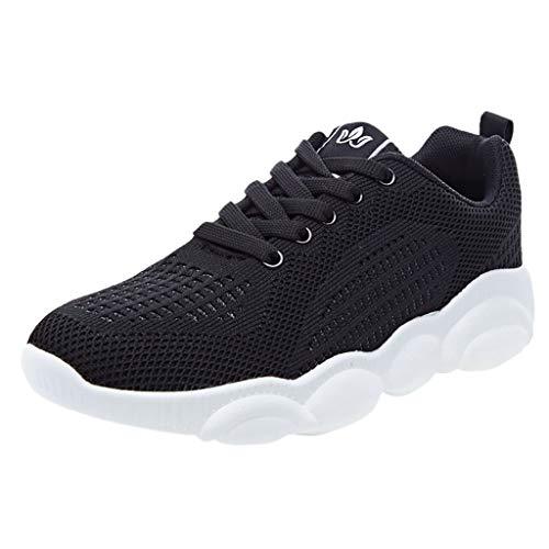 WOZOW Mode pour Femmes en Plein Air Chaussures De Sport Décontractées D'été Unique Bande Dessinée Course Femme Fitness Baskets Garçon Running Sneakers(Noir,35)